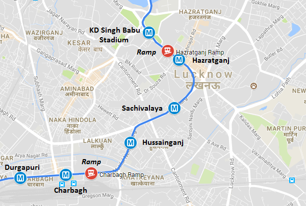 Lucknow Metro Map.Track Laying Work Begins Inside Lucknow Metro S Tunnels The Metro
